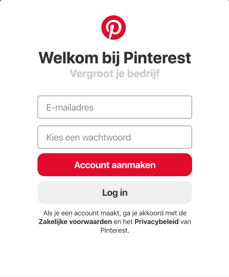 Account aanmaken op Pinterest is gratis