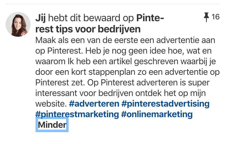 Pinomschrijving inclusief hashtags op Pinterest