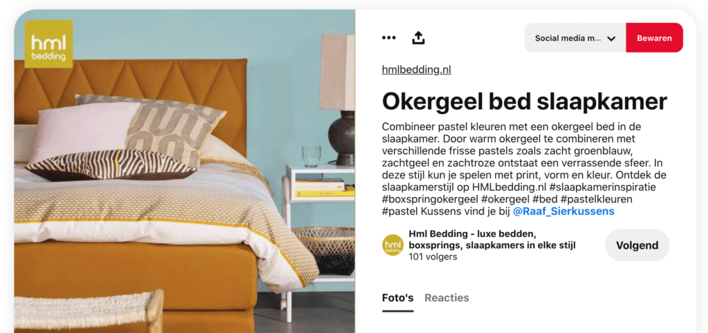 Tag een ander in je Pinterest pin